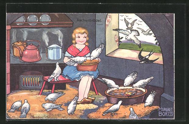 Künstler-AK Margret Boriss: Aschenputtel und Tauben in der Küche