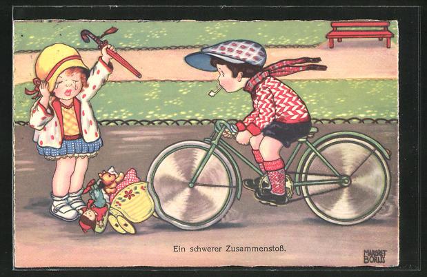 Künstler-AK Margret Boriss: Kleiner Radfahrer überfährt die Puppen eines Mädchens