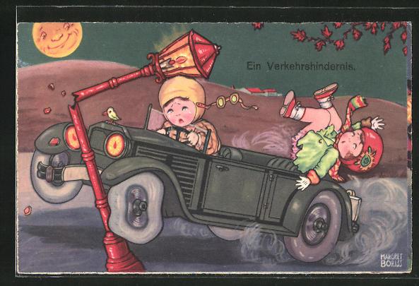 Künstler-AK Margret Boriss: Autofahrer setzt das Auto gegen eine Laterne