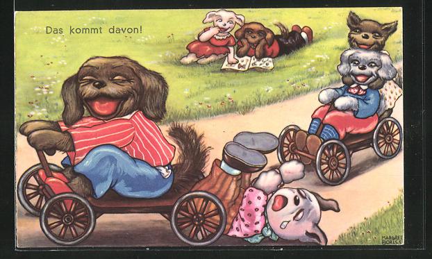 Künstler-AK Margret Boriss: Hunde fahren ein Seifenkistenrennen