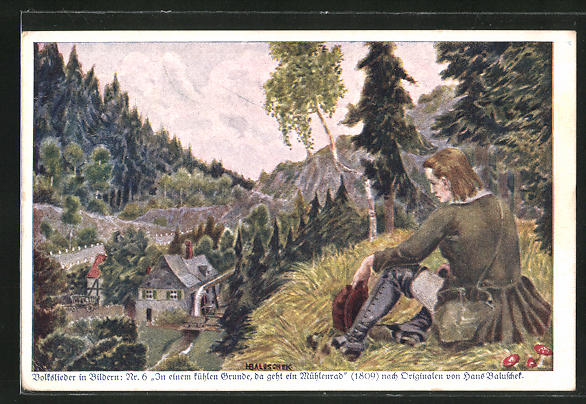 Künstler-AK Hans Baluschek: Wanderer blickt auf eine Wassermühle im Tal