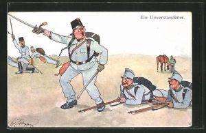 Künstler-AK Fritz Schönpflug: Offizier und Soldaten im Manöver