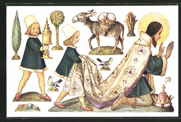 Künstler-AK Josef Bachlechner: Einer der drei heiligen Könige knieend, begleitet von Pagen