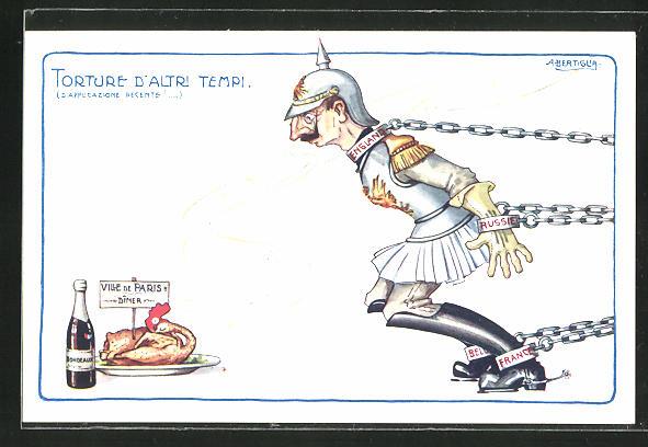 Künstler-AK A. Bertiglia: Propaganda Entente, Kaiser Wilhem II. in Ketten, ein gebratenen Hahn erblickend