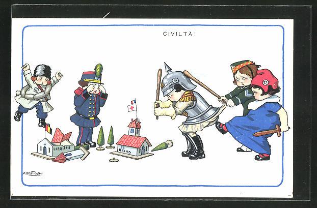 Künstler-AK A. Bertiglia: Propaganda Entente, Kleiner deutscher Soldaten bezieht Prügel mit dem Knüppel