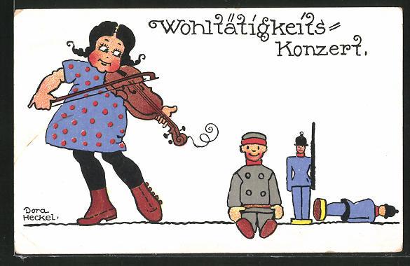 Künstler-AK Dora Heckel: Mädchen spielt auf der Geigen für Spielzeugsoldaten