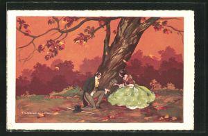 Künstler-AK Tito Corbella: Liebespaar im Abendrot unter einem Baum