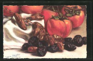 Künstler-AK Carlo Chiostri: Stillleben mit Früchten