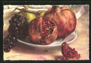 Künstler-AK Carlo Chiostri: Stillleben mit Trauben und Äpfel
