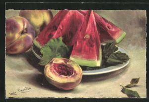 Künstler-AK Carlo Chiostri: Stillleben aus Pfirschen und Melonen
