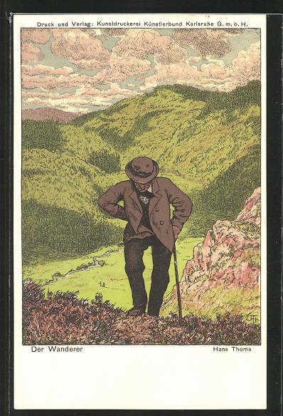 Künstler-AK Hans Thoma: Alter Wanderer in den Bergen