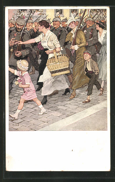 Künstler-AK Brynolf Wennerberg: Leute jubeln den Soldaten beim Aufbruch zu