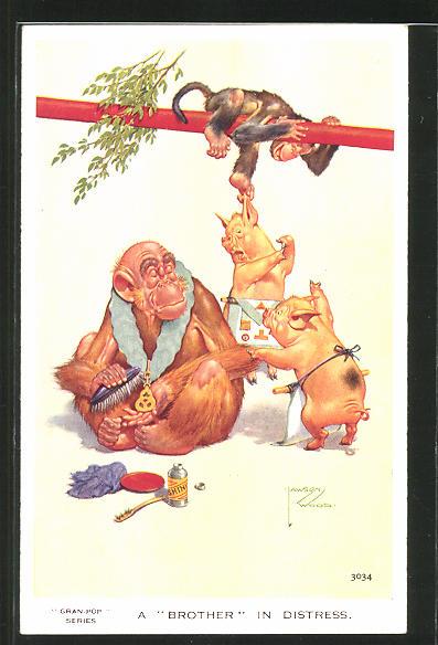Künstler-AK Lawson Wood: Affe ärgert zwei Schweine