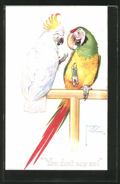 Künstler-AK Lawson Wood: Papageienpaar auf einer Stange sitzend