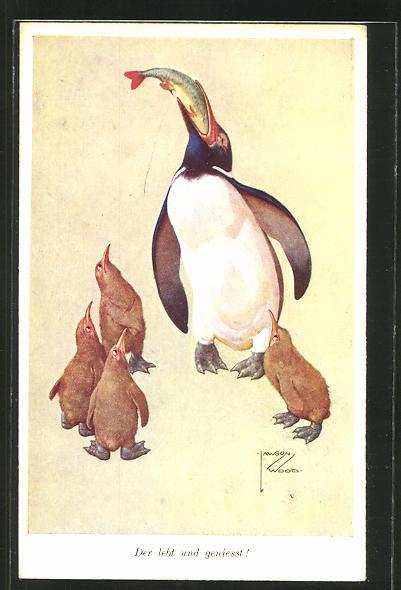 Künstler-AK Lawson Wood: Pinguin verspeist einen Fisch