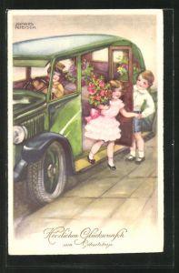 Künstler-AK Hannes Petersen: Mädchen mit grossem Blumenstrauss, steigt aus dem Auto