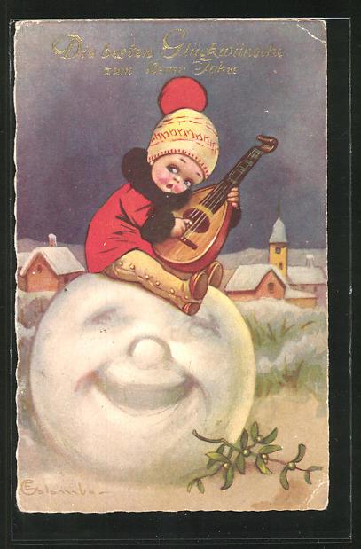 Künstler-AK E. Colombo: Die besten Glückwünsche zum Neuen Jahr, Kind auf Schneekugel mit Saiteninstrument, Mistelzweig