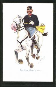 Künstler-AK Fritz Schönpflug: Der Herr Hauptmann, auf galoppierenden Schimmel