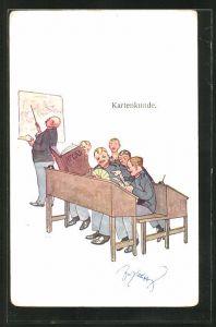 Künstler-AK Fritz Schönpflug: Kartenkund, Soldaten im Klassenzimmer mit Atlas und Karten spielend