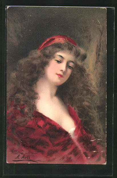 Künstler-AK Angelo Asti: Frau mit wallendem Haar in rubinroter Robe