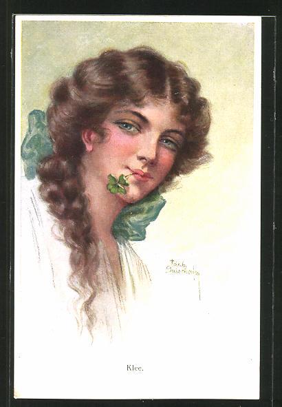 Künstler-AK Ruab Gnischaf: Klee, junge Frau mit Kleeblatt zwichen den Lippen