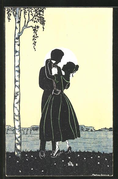 Künstler-AK Manni Grosze: Paar als Silhoutte vor Mond in inniger Umarmung neben einem Baum