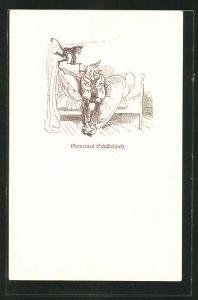 Künstler-AK Wilhelm Busch: Gemeines Schädelweh, Mann sitzt auf Bett und Teufel mit Bohrer am Kopf