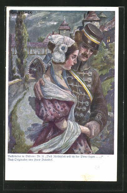 Künstler-AK Hans Baluschek: Volkslieder in Bildern: Nr. 31 Voll Zärtlichkeit will ich der Dirne fragen. Soldat mit Frau