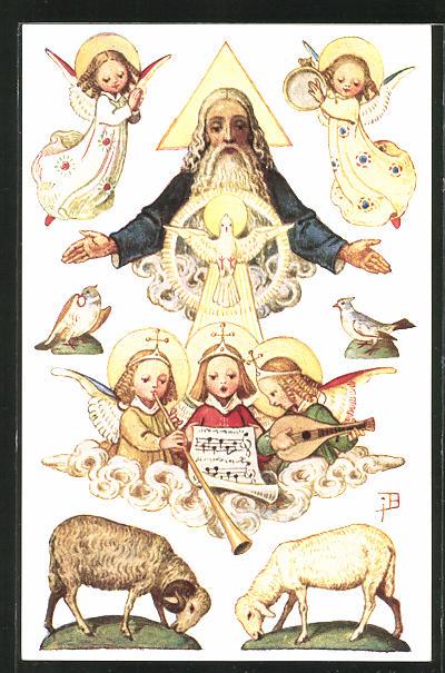 Künstler-AK Josef Bachlechner: Gott Vater mit musizierenden Engeln und Schafen, Tauben
