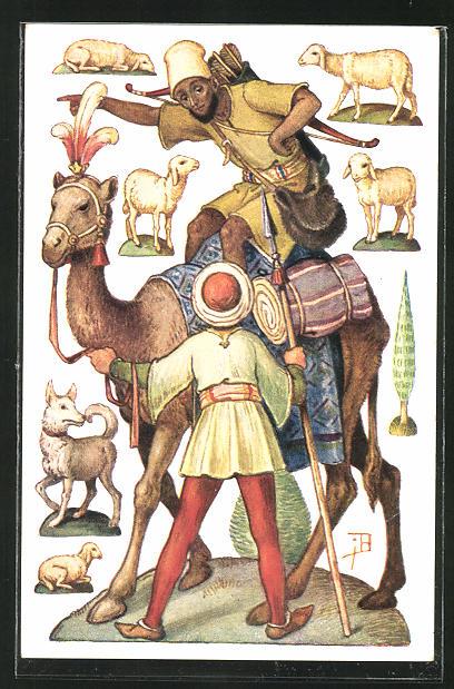 Künstler-AK Josef Bachlechner: Dreikönig-Serie, Balthasar auf Kamel mit Pfeil und Golden, Schafen