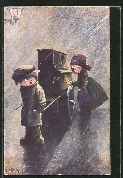 Künstler-AK A. Bertiglia: Mädchen am Drehorgel, die Junge zieht im strömenden Regen