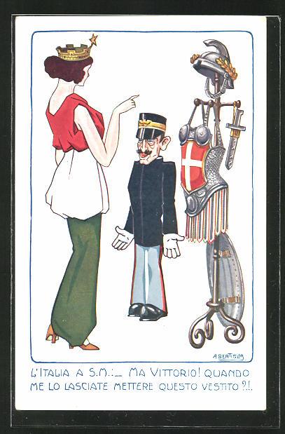 Künstler-AK A. Bertiglia: L`Italia a S.M.: _ Ma vittorio! Quando me lo Lasciate mettere questo vestito?!, Dame u. Soldat