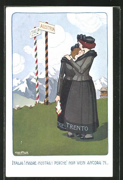 Künstler-AK A. Bertiglia: Italia! Madre Nostra! Perche non vieni ancora?! Zwei Witwen weinen vor Italien und Österreich