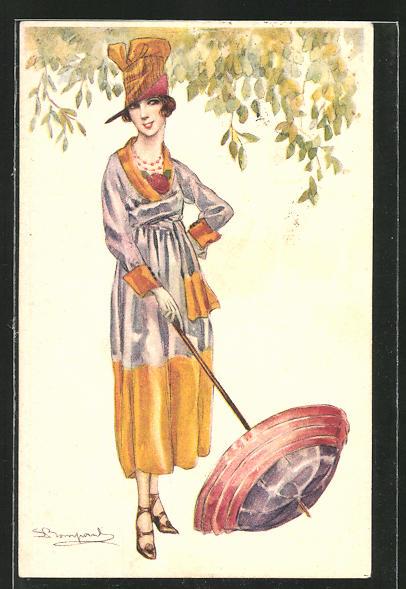 Künstler-AK Sergio Bompard: Frau mit Sonnenschirm und aufwendigen Kleid und Hut