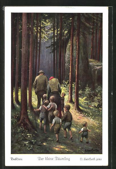 Künstler-AK Oskar Herrfurth: Der kleine Däumling. Familie mit vielen Kinder im Wald