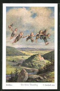 Künstler-AK Oskar Herrfurth: Der kleine Däumling. mit Siebenmeilenstiefel und Kinder fliegen aus Wolken auf die Erde