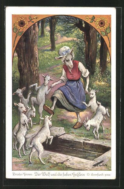 Künstler-AK Oskar Herrfurth: Brüder Grimm. Wolf und die sieben Geisslein. Zicke tanzt mit Geisslein in Kleid