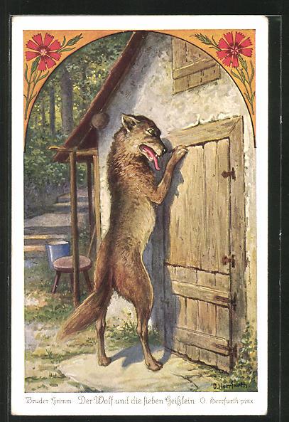 Künstler-AK Oskar Herrfurth: Brüder Grimm. Der Wolf und die sieben Geisslein. Wolf steht an Tür