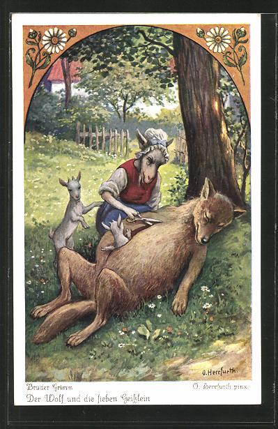 Künstler-AK Oskar Herrfurth: Brüder Grimm. Der Wolf und die sieben Geisslein. Zicke schneidet Wolf den Bauch auf