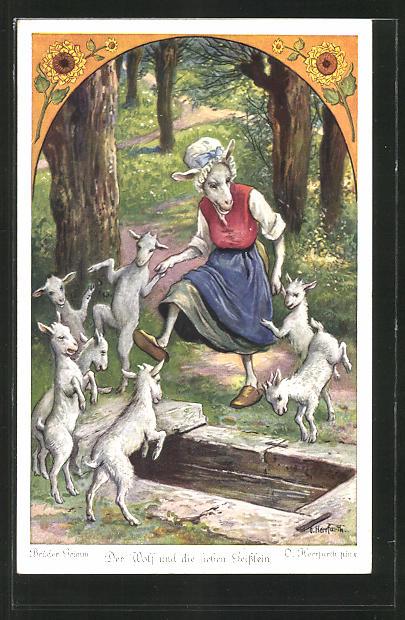 Künstler-AK Oskar Herrfurth: Brüder Grimm. Der Wolf und die sieben Geisslein. Zicke tanzt mit Geisslein