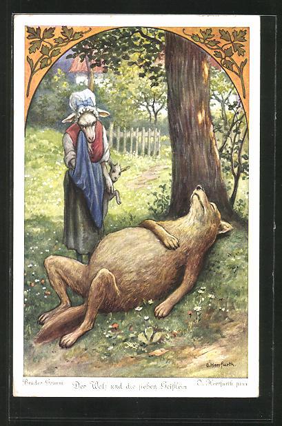 Künstler-AK Oskar Herrfurth: Brüder Grimm. Der Wolf und die sieben Geisslein. Zicke weint vor vollgefressenem Wolf