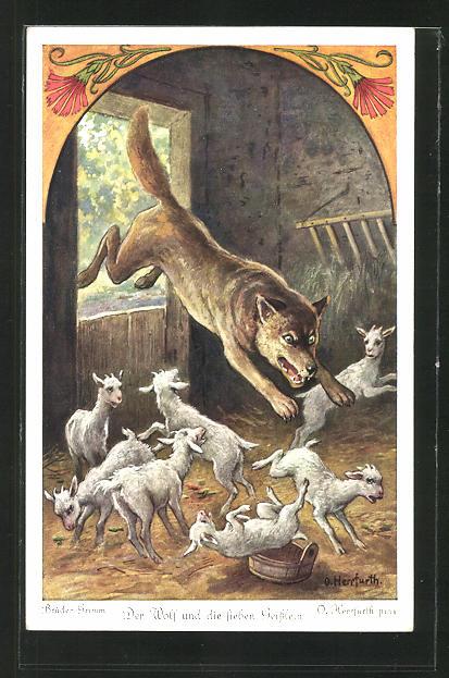 Künstler-AK Oskar Herrfurth: Brüder Grimm. Der Wolf und die sieben Geisslein. Wolf stürzt sich auf Geisslein
