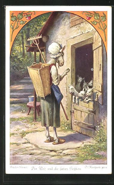 Künstler-AK Oskar Herrfurth: Brüder Grimm. Der Wolf und die sieben Geisslein. Zicke verabschiedet sich von Geisslein