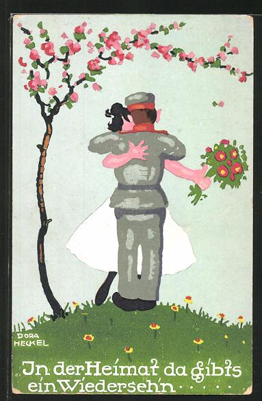 Künstler-AK Dora Heckel: in der Heimat, da gibt`s ein Wiederseh`n...Soldat umarmt Frau unter Kirschbaum