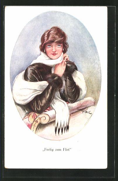 Künstler-AK Court Barber: Dame mit Schal