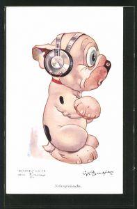 Künstler-AK George Ernest Studdy: Bonzo mit Kopfhörern