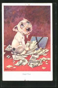 Künstler-AK George Ernest Studdy: Bonzo mit Geldscheinen