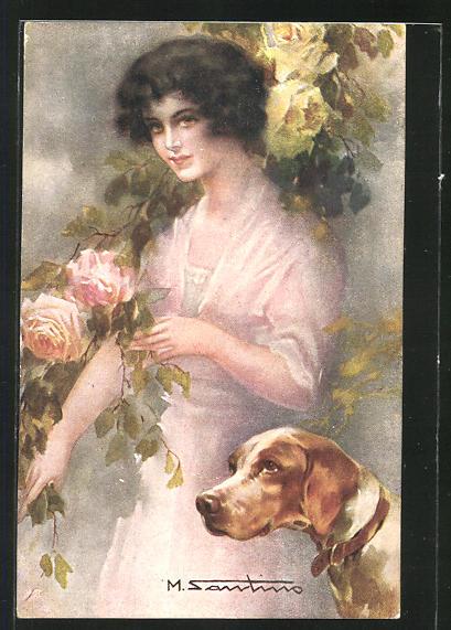 Künstler-AK M. Santino: Frau mit Hund und Blumen