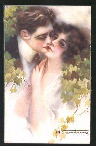 Künstler-AK M. Santino: Sich küssendes Paar
