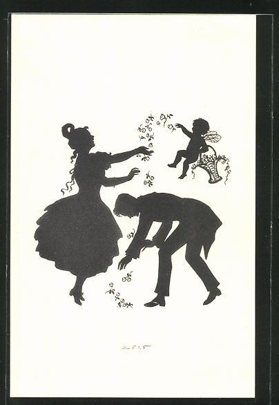 Künstler-AK Elsbeth Forck: Schattenbild Mann und Frau mit einem Engel aus der Biedermeierzeit